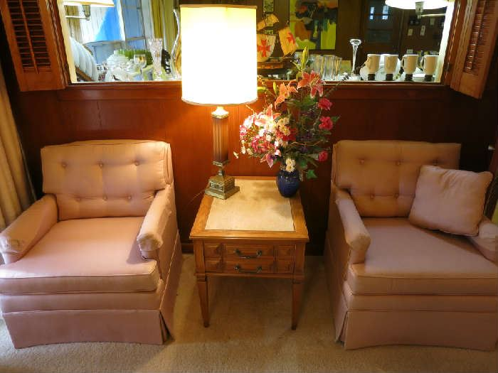 Mid Century Modern Style Chairs, Accent Table, Lamp