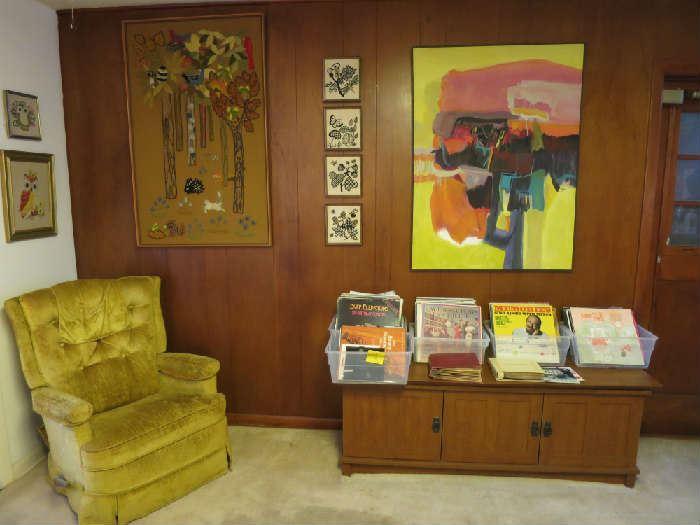 Vintage Recliner Rocker, Crewel Forest Artwork, Original By Carole Myers,
