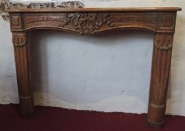 Carved Wooden Fire Place Mantel