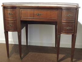 Kidney Shaped French Style Ladies House Writing Desk in Walnut and Mahogany with Original Key