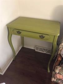 #4 Green Painted dressing table w/one drawer 29x18x30 $100.00
