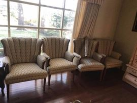 #1 (4) gold channel back chairs $75 ea $300.00