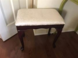 "#5 Vanity Stool with qa legs and white fabric top 19"" Tall $30.00"