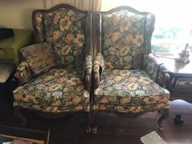 #3 (2) flower upholstered wood arm wingback chairs $150.00