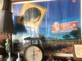 Lone Star Beer poster with armadillo