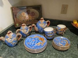 1920s Kutani Moriage Dragonware Tea Set