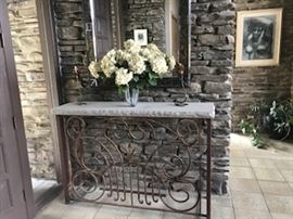 Old architectural iron base with Stone top console table