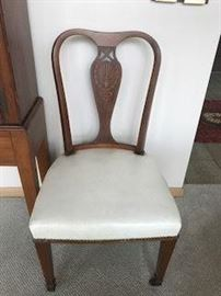 One of 12 inlaid dining chairs, antique