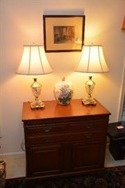 mahogany server, pair brass and glass lamps, Panasonic 5-disc changer