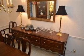 Henkel-Harris mahogany buffet/server, candlestick lamps, Franciscan Spruce with platinum china, wall mirror