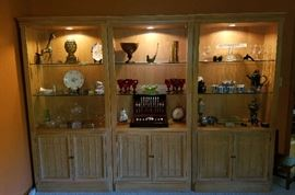3pc. Lighted Wall Unit with glass shelves