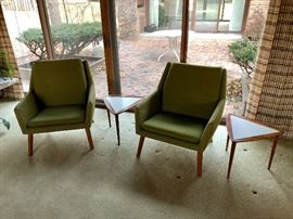 1960-70's Godtfred Petersen's Denmark Upholstered Chairs; 2  Side Tables