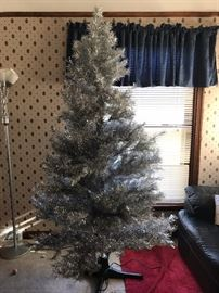 Silver Christmas Tree - 7 Foot tall on Rotating Base