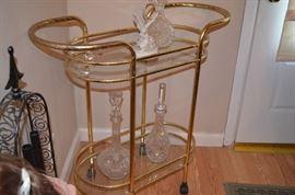 Brass Bar Cart, Crystal decanters,