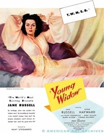 "ORIGINAL oil painting of a reclining Jane Russell done by the famous illustrator, Andrew Loomis.  This is what was used to advertise the movie ""YOUNG WIDOW"" starring Jane Russell"