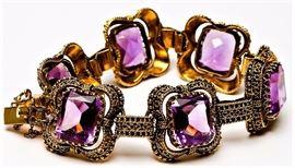 Vintage 14k gold & Amethyst bracelet