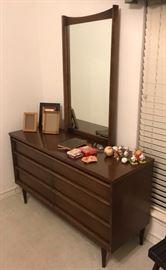 mid century dresser with mirror