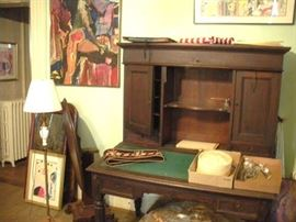 Antique 1880's Writing Desk and lots more Original Oil Paintings.