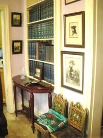 Just a small sampling of the Old Books, Framed Etchings and unusual furniture pieces.
