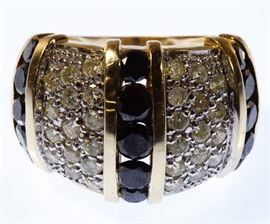 14k Gold Black and White Diamond Ring