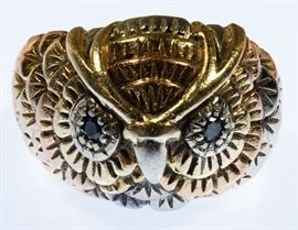 14k Gold and Semi Precious Gemstone Owl Ring
