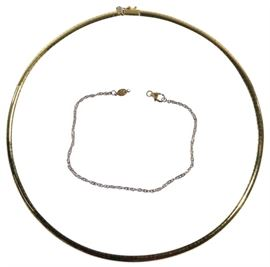 14k Gold Omega Necklace and Twisted Rope Bracelet