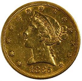 1885 5 Gold AU Details
