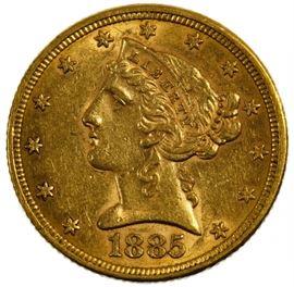 1885 5 Gold Unc. Details