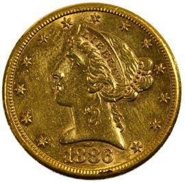 1886 S 5 Gold AU Details