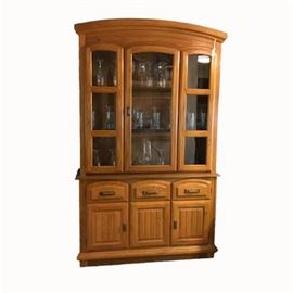 Contemporary Golden Oak China Cabinet