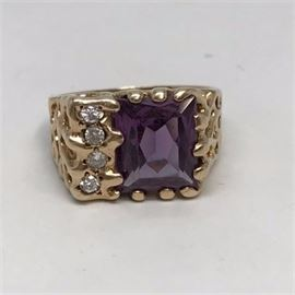 Mens Amethyst and Diamond Gold Nugget Ring