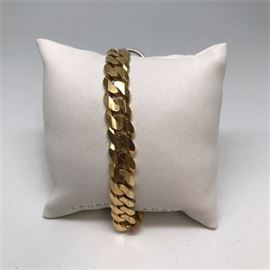 Italian 585/14 Karat Cuban Curb Link Gold Bracelet
