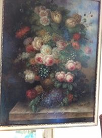 L. Edna Martin large oil painting of flowers in vase on marble base