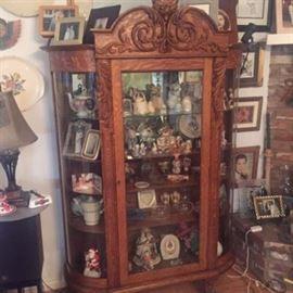 Antique Curio Lighted Cabinet