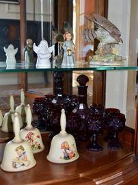 Hummel bells and Avon Cape Cod glassware