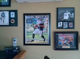 Ravens memoriabilia and collectibles including signed pictures and football