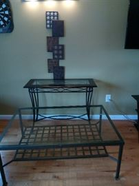 Wrought iron/glass sofa and coffee table