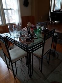 Victorian wrought iron glass table and chair set