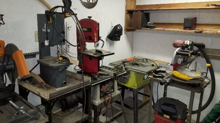 Table saws, band saws, chop saws for wood or metal