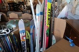 Skis -- Cross country & downhill, children, womens and poles