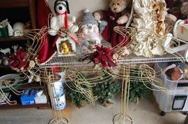 Come find your Christmas Gifts and Holiday decorations, a whole garage full .....Gold vintage Deer- store displays
