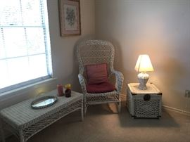 White wicker coffee table, chair, chest and lamp