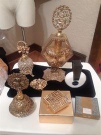 Vintage Perfume Bottles Estee Lauder Compact Florenza Dresser Trinket