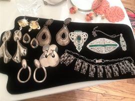 Sterling  Earrings Rhinestone Emerald DressClip and Brooch
