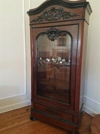 French Antique Armoire with Glass Door   42Wx17Dx88.5H
