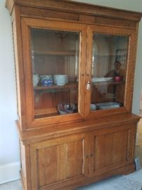 Italian Antique Cupboard with Hutch with light and key (2 pieces for easy moving) 62Wx21Dx85H