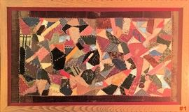 'CRAZY QUILT' 1887 Small framed baby crib quilt.
