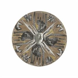 """David Widmer Mixed Media Collage """"Tao of Stone"""": A mixed media collage by David Widmer. This collage is composed of cut offset lithograph prints and pastel and features a round composition. The collage is unframed and features a sawtooth hanger to the verso."""