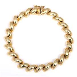 14K Yellow Gold 5.00 mm San Marcos Bracelet: A 14K yellow gold 5.00 mm San Marcos bracelet.