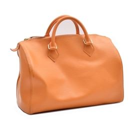 Louis Vuitton Mandarin Epi Speedy 30 Handbag: A mandarin Epi Speedy 30 handbag by Louis Vuitton. The bag features brass hardware, double rolled leather handles and a zippered top closure. There is an embossed logo to the lower right corner against the textured full-grain leather surface. The inside is finished with an orange canvas lining, sectioned pockets and a branded leather tag.